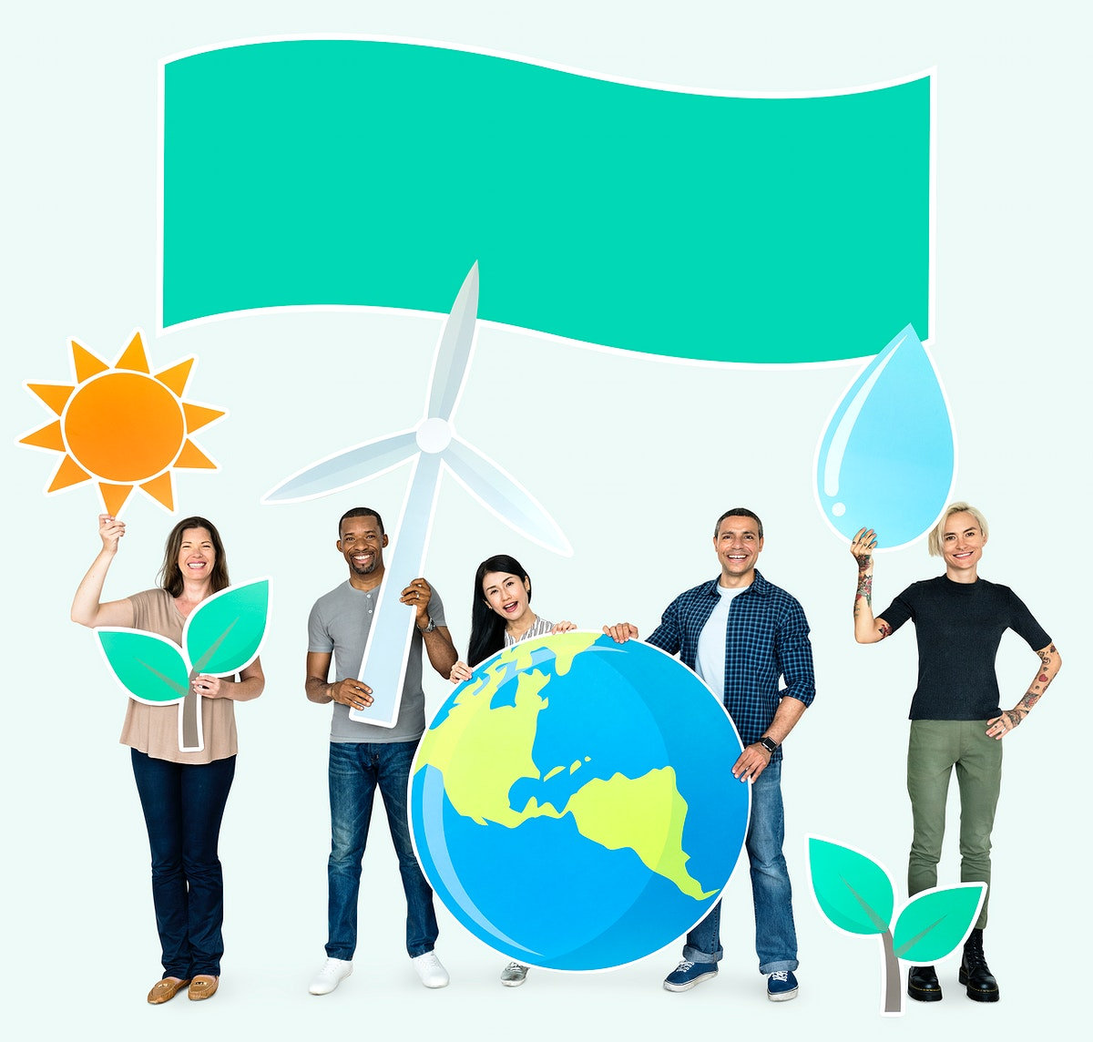 Group of diverse people holding eco-friendly icons