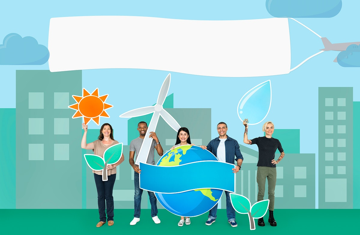 Group of diverse people holding eco friendly icon
