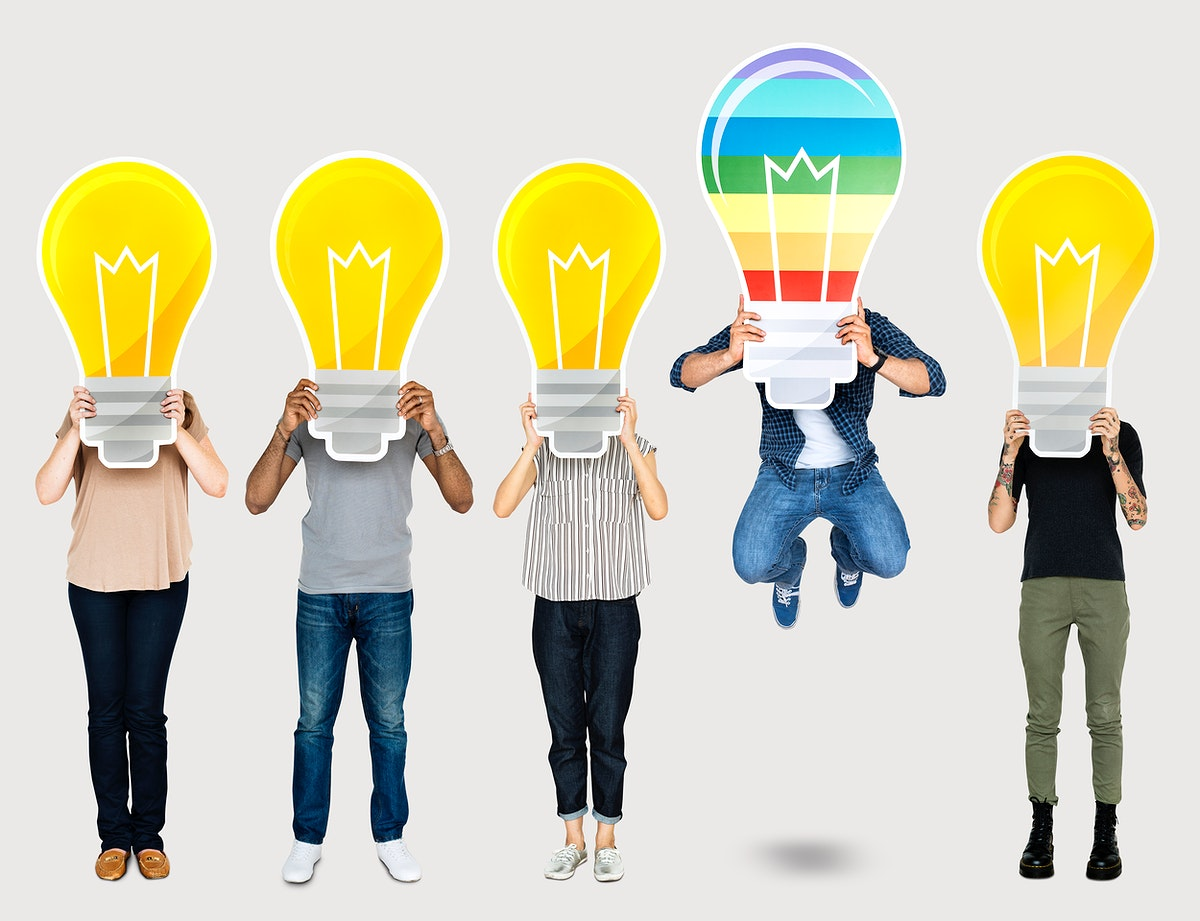 Diverse people holding light bubl icons