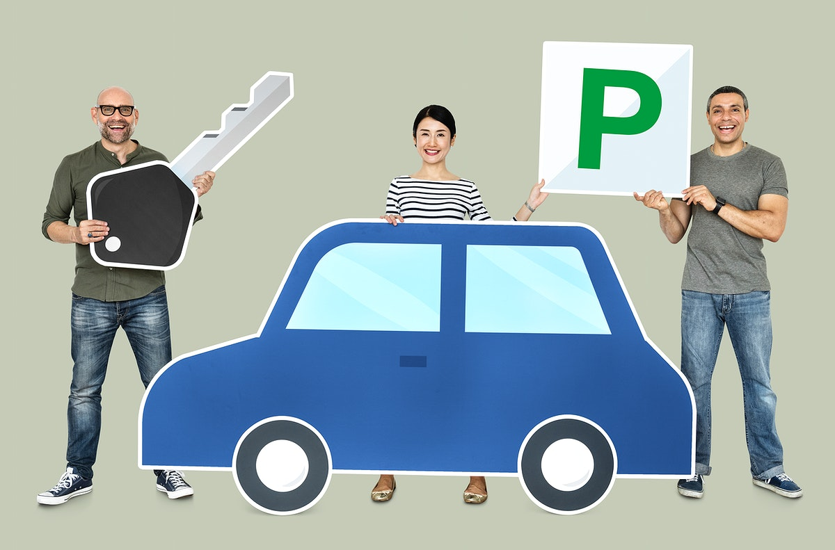 Happy people holding car icons