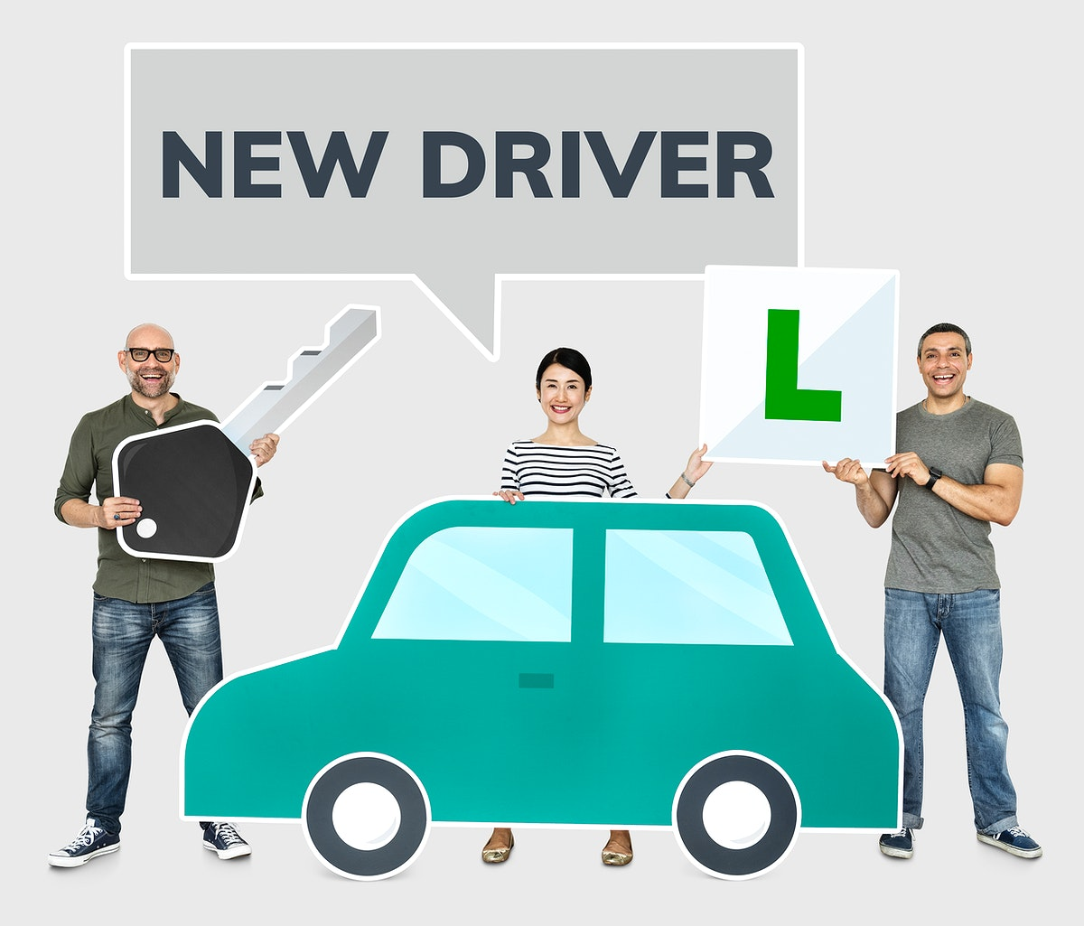 Happy new drivers with a car