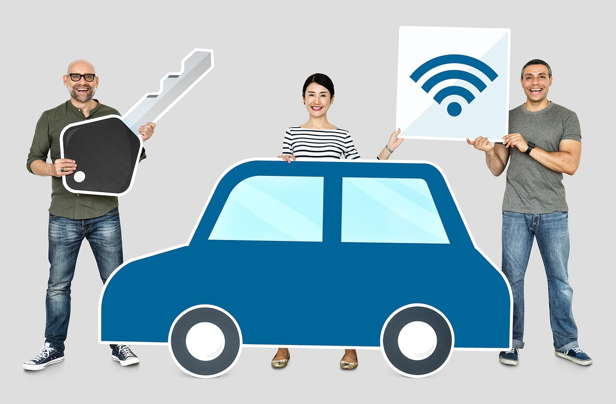 Happy people with a high tech car