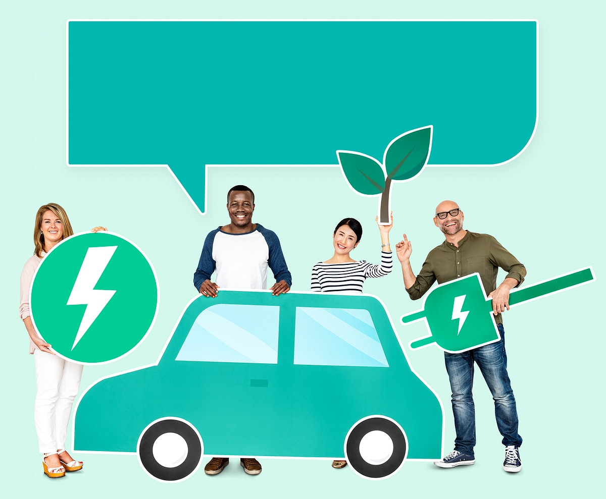 Cheerful people with a hybrid car