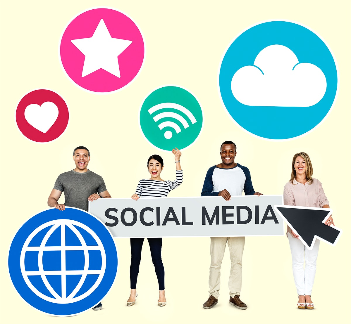 Happy diverse people holding social media icons