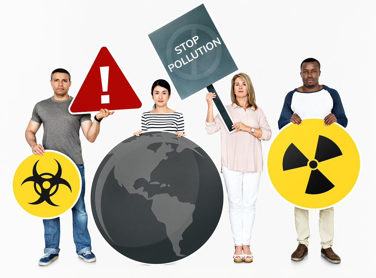 Diverse people holding stop pollution icons