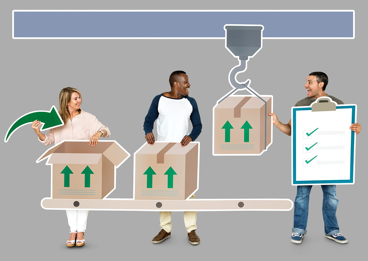 Happy diverse people in a logistics manufacturing process