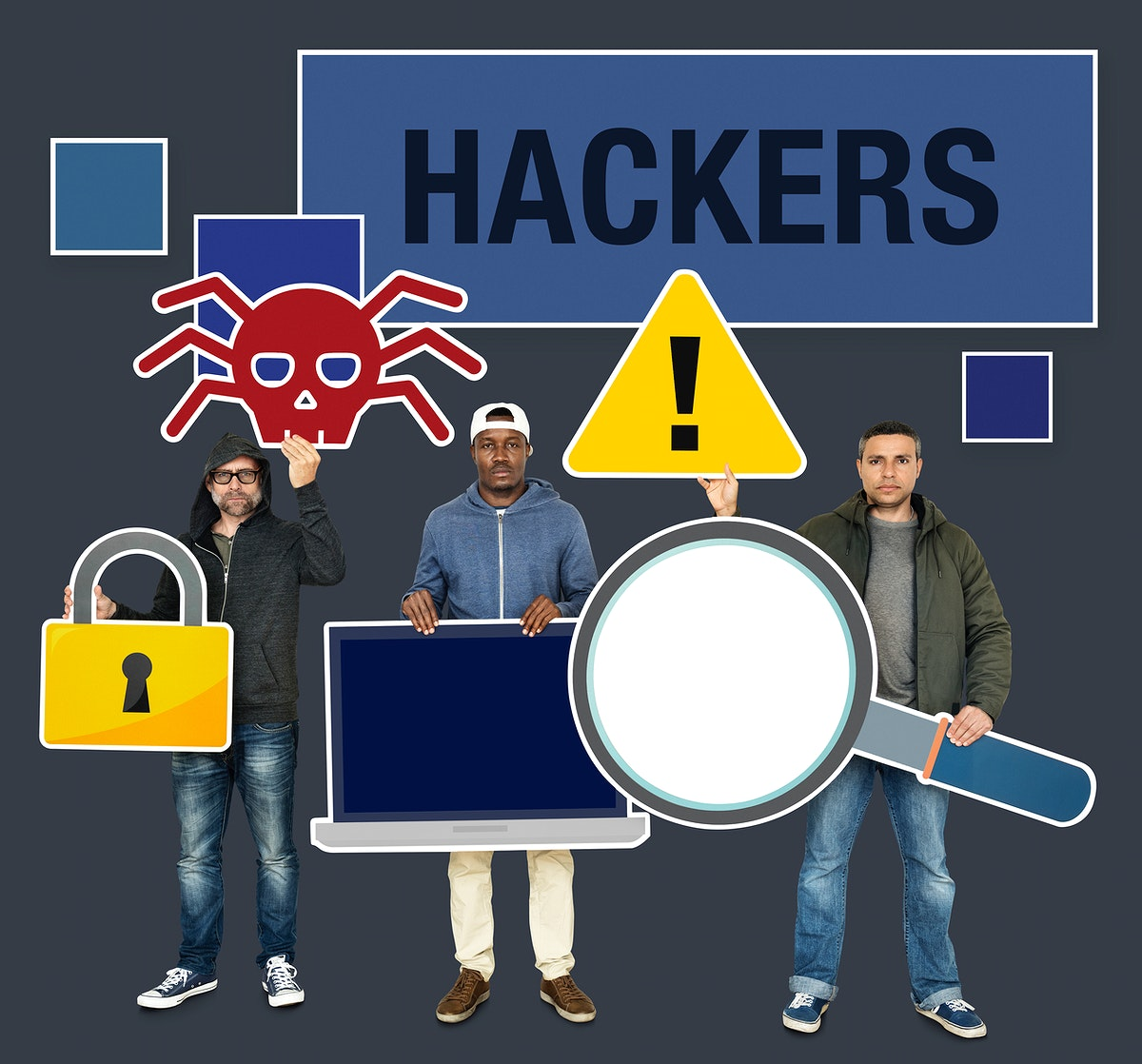 Hackers with internet crime icons