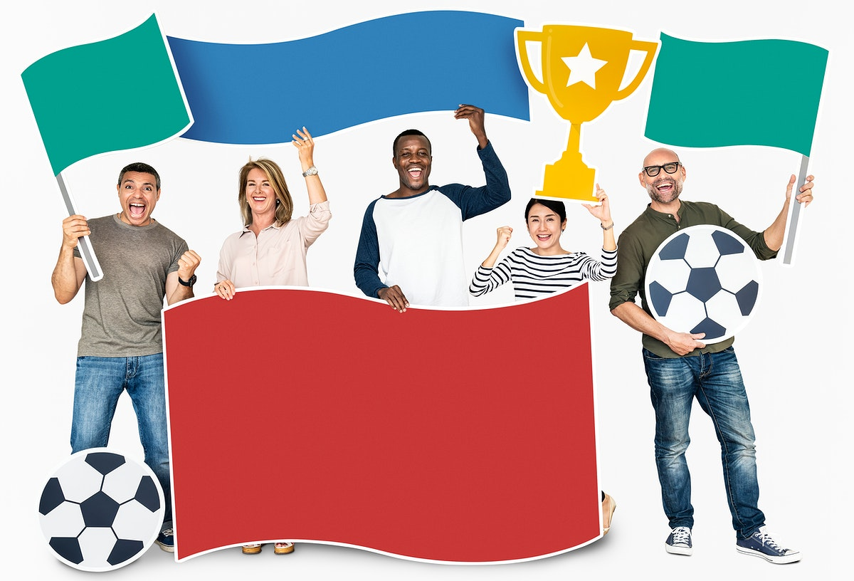 Happy diverse people holding flags and sports cup