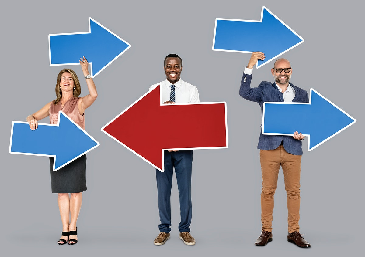 Happy diverse people holding arrow icons