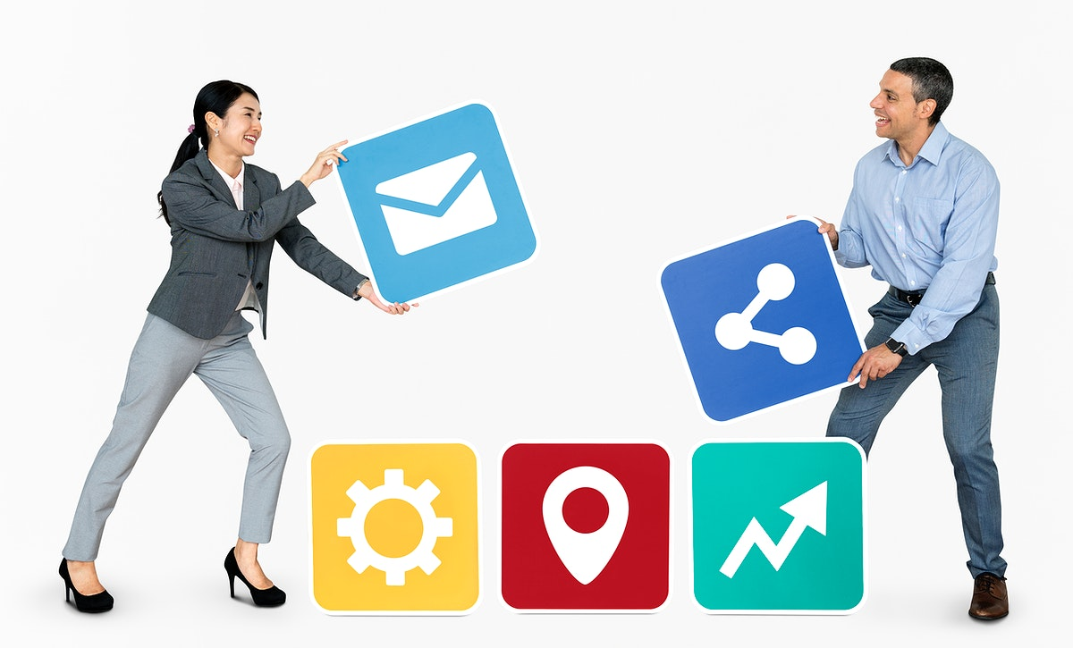 Business partners holding online icons