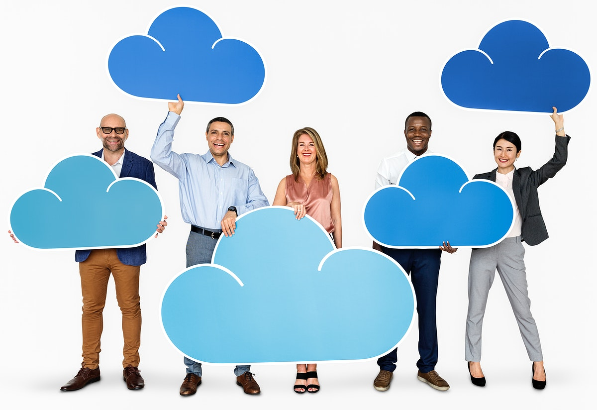 Diverse people holding cloud icons