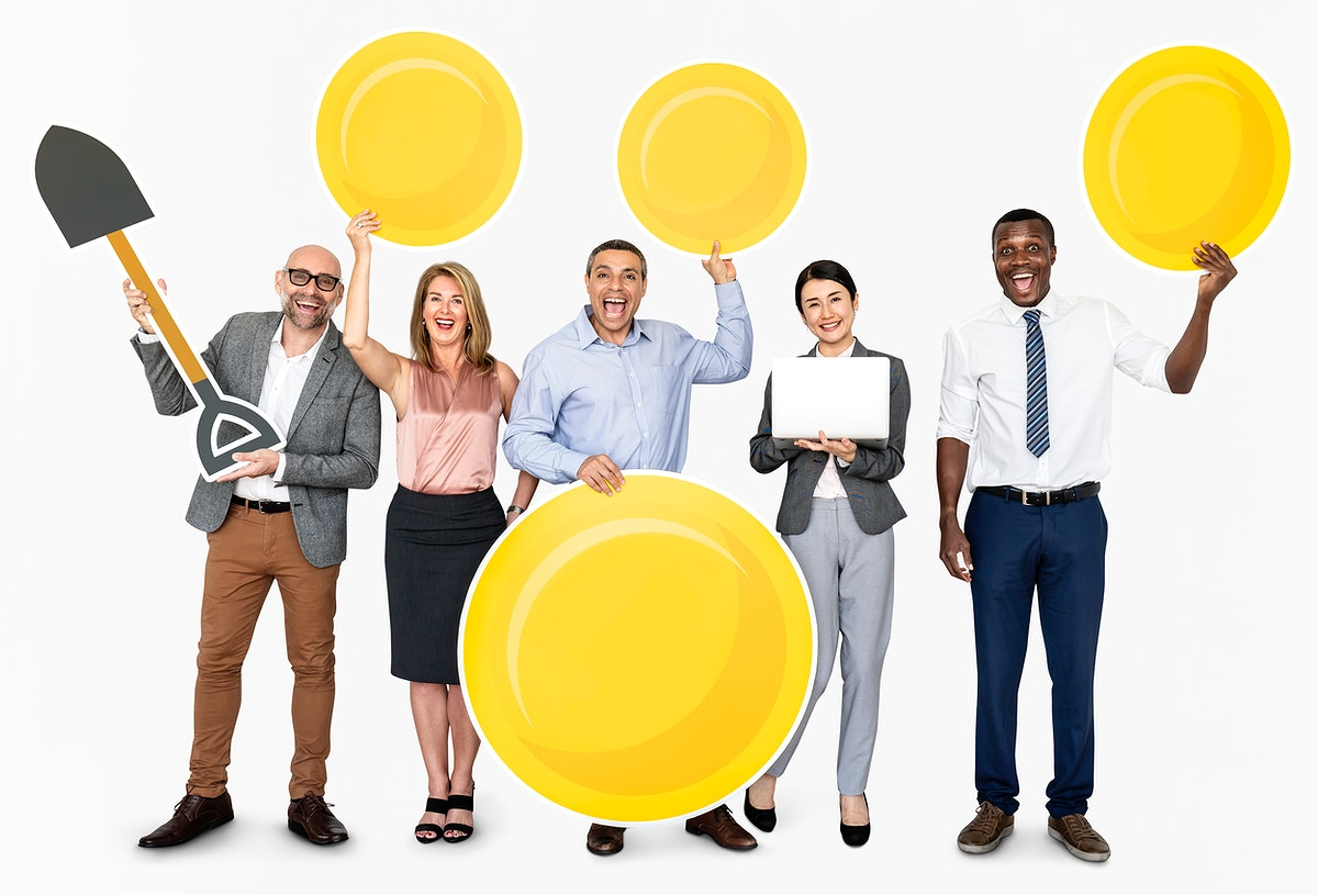 Group of people holding e-commerce icons