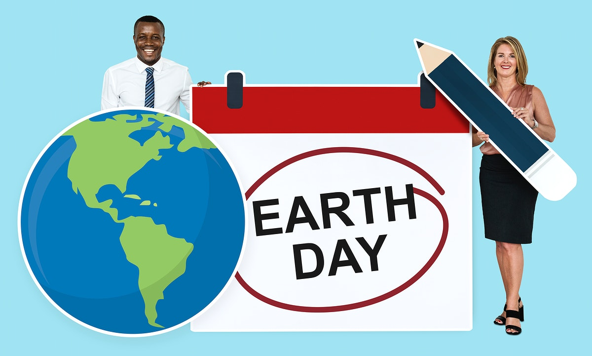 Diverse people holding earth day icon