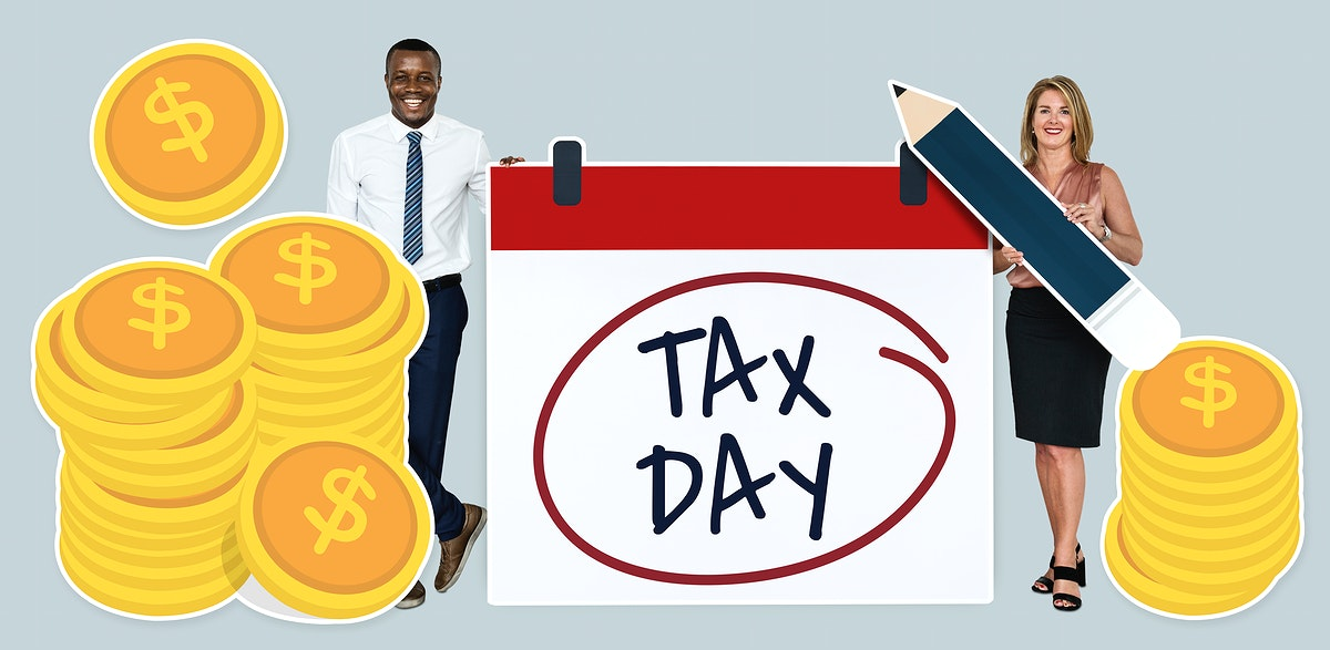 Business people with tax day