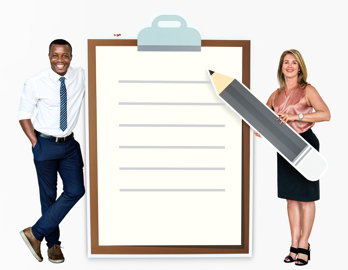 Diverse people holding a paper clipboard