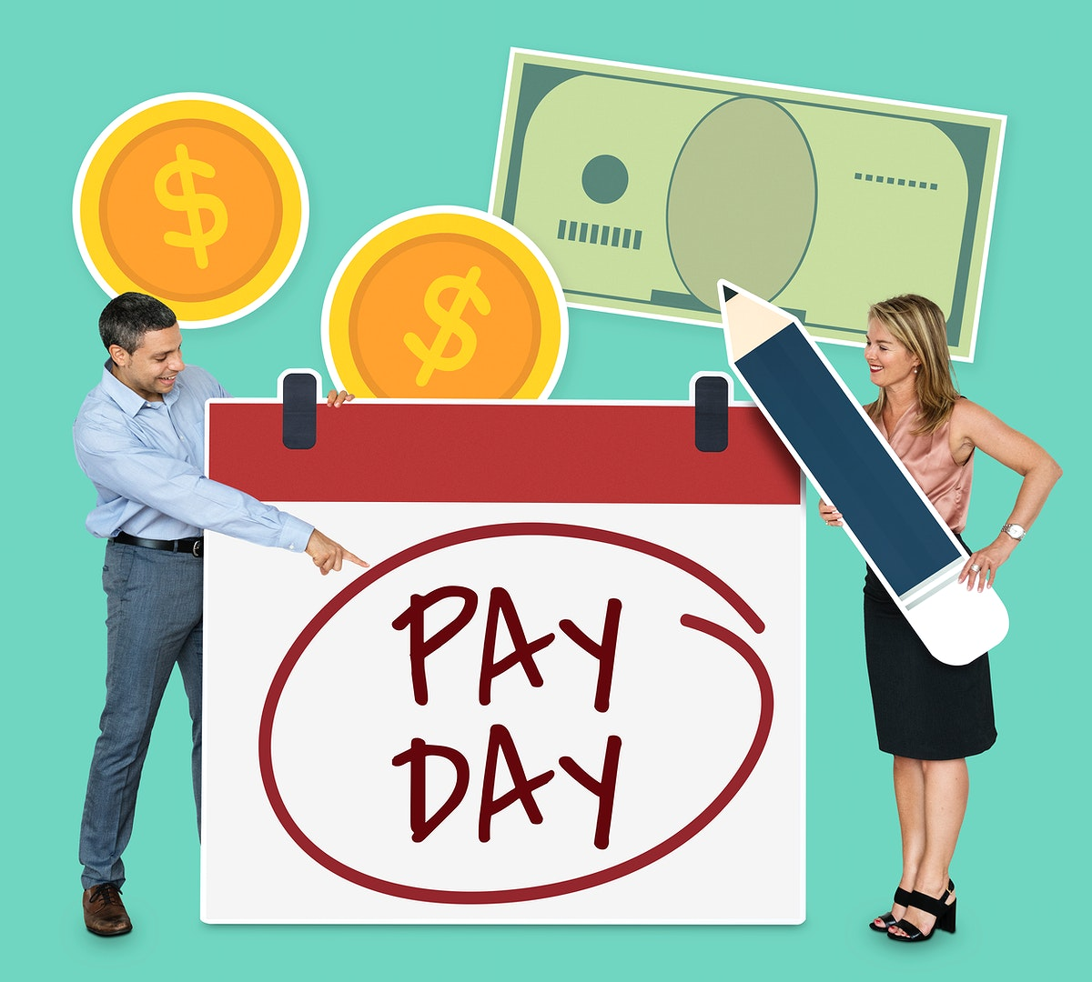Man pointing at pay day