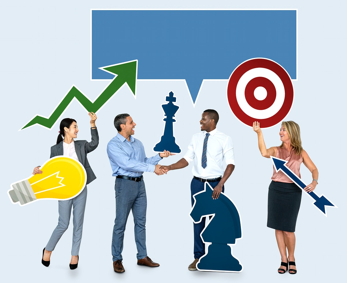 Successful business people with strategic plans