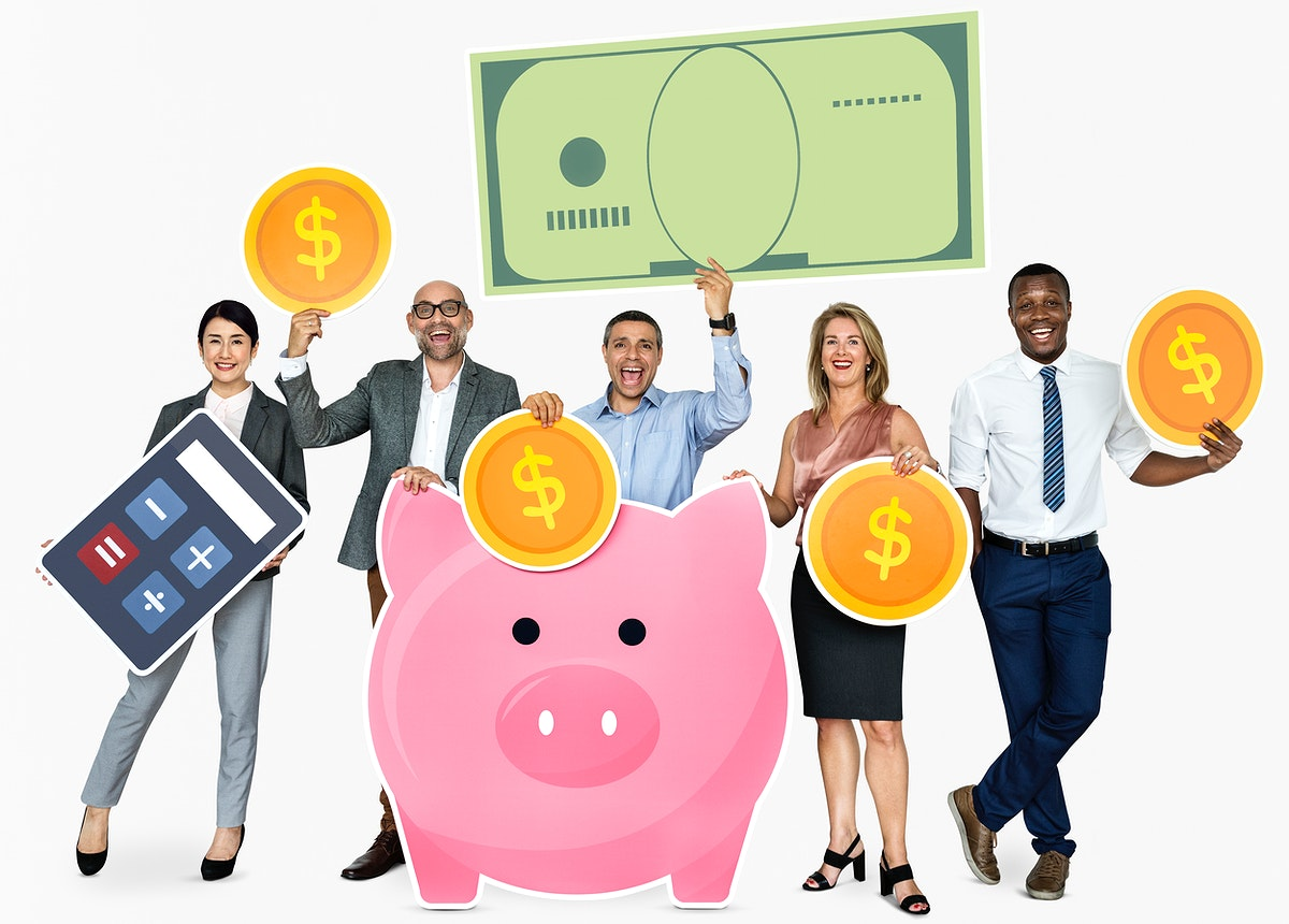 Diverse people with financial icons
