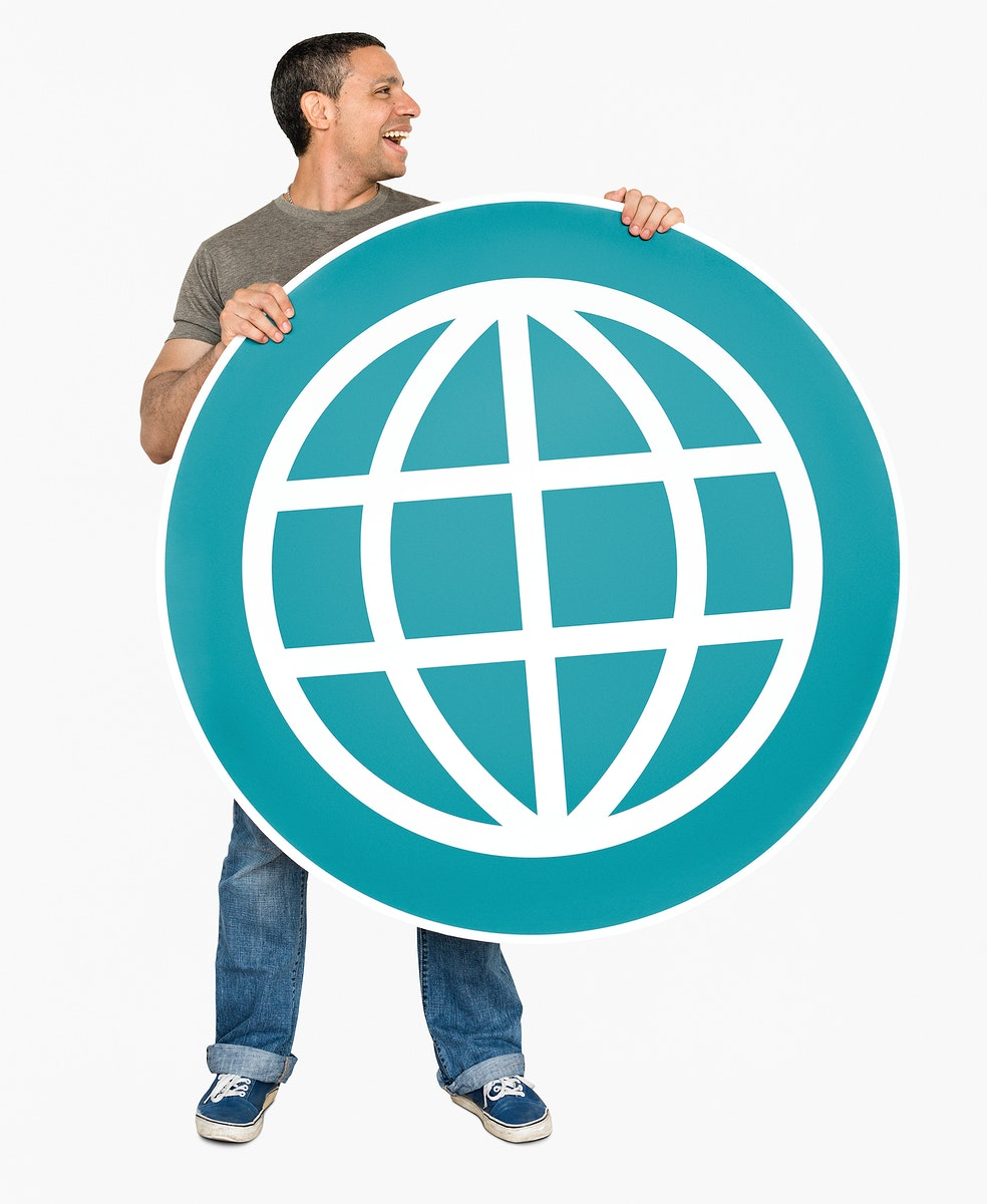 Man holding global connection icon