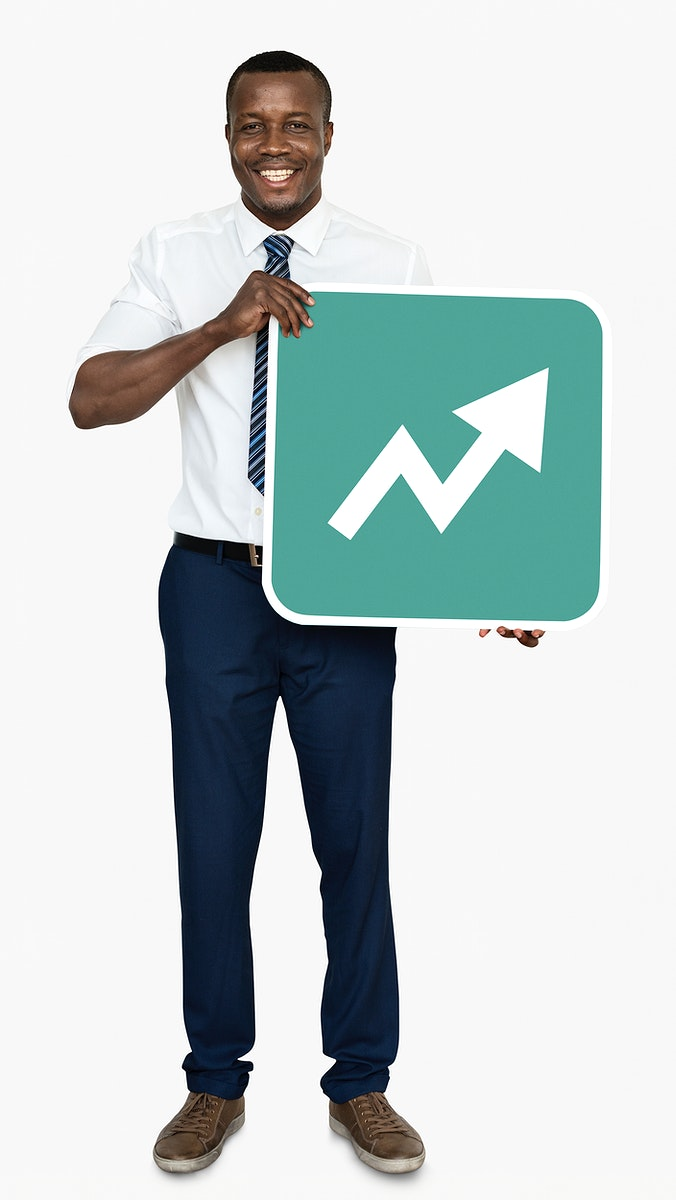 Man holding a growth indicating arrow