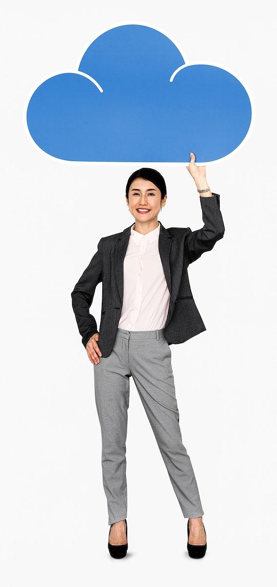 Woman holding cloud computing icon