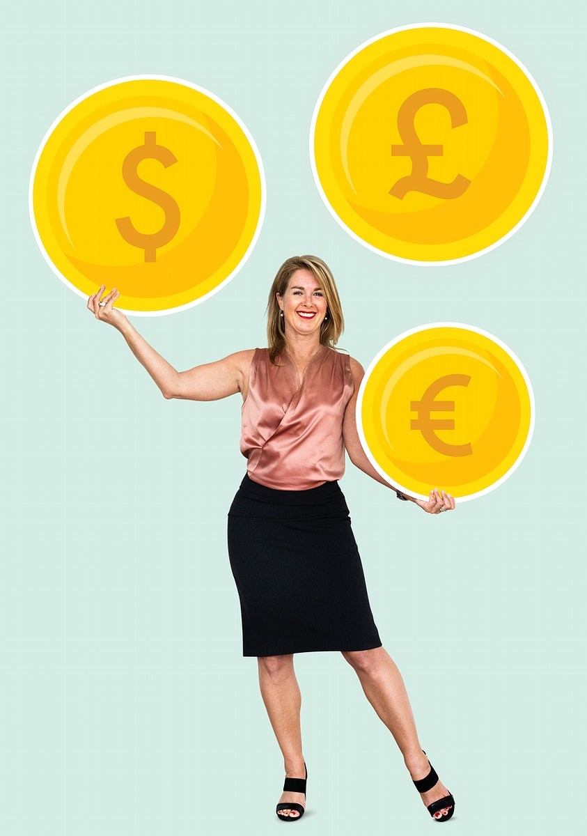 Woman holding money and bitcoin icons