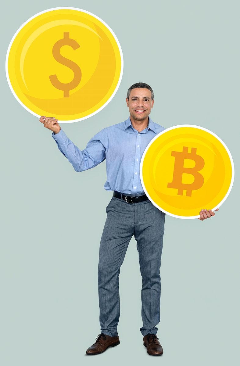 Happy rich man holding money