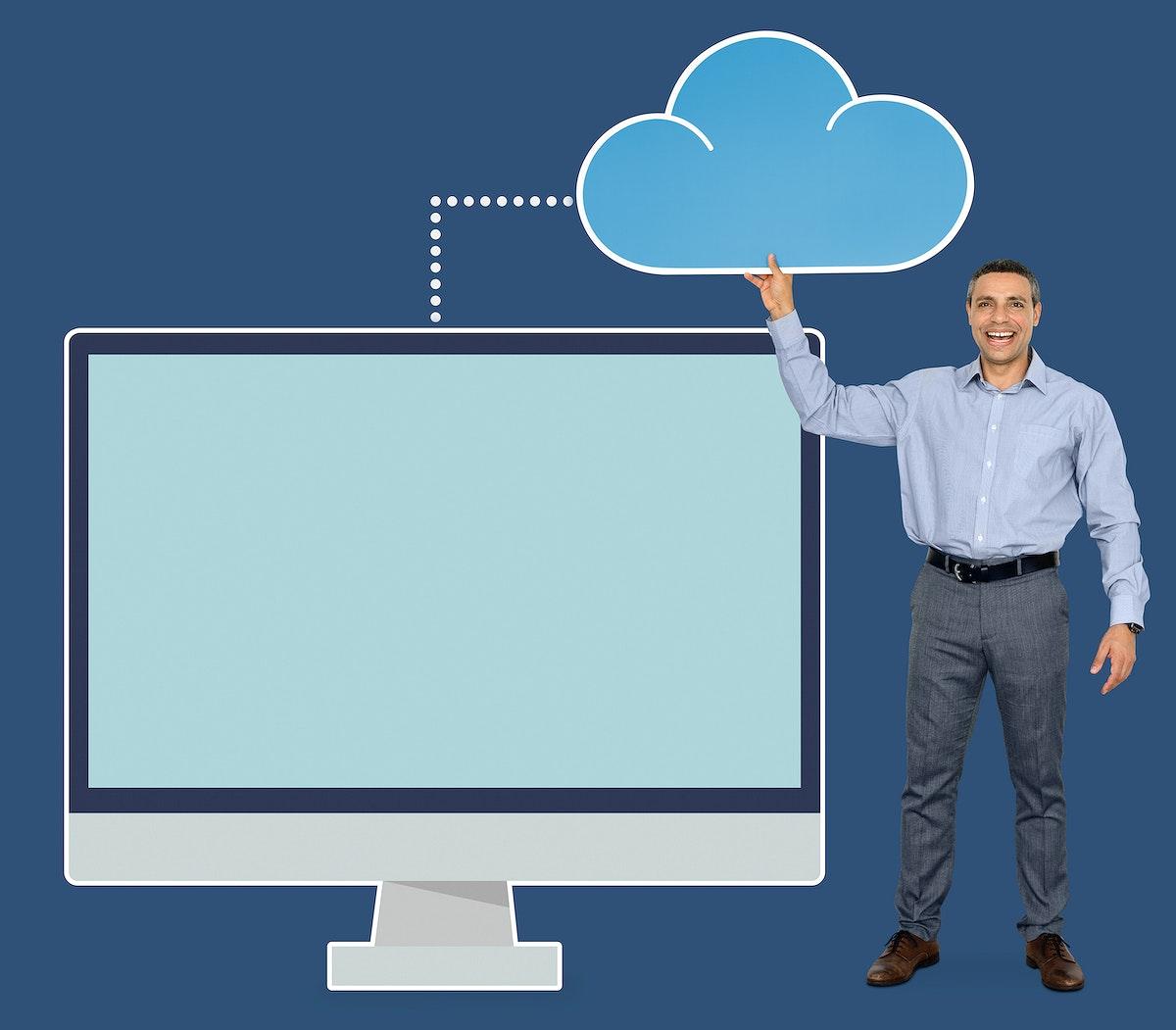 Businessman holding cloud computing icon