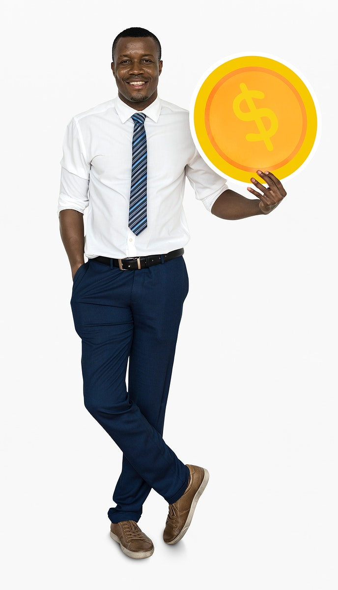 Businessman holding a dollar coin