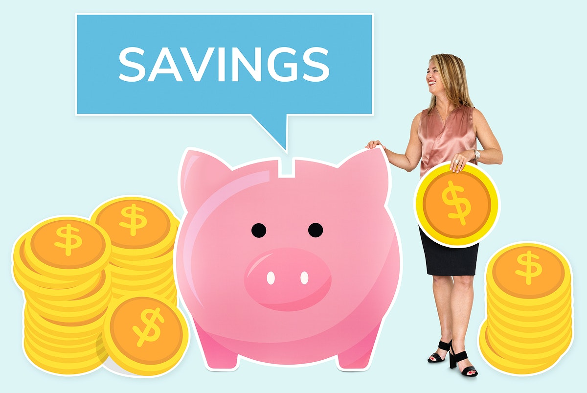 Woman saving money in a piggy bank