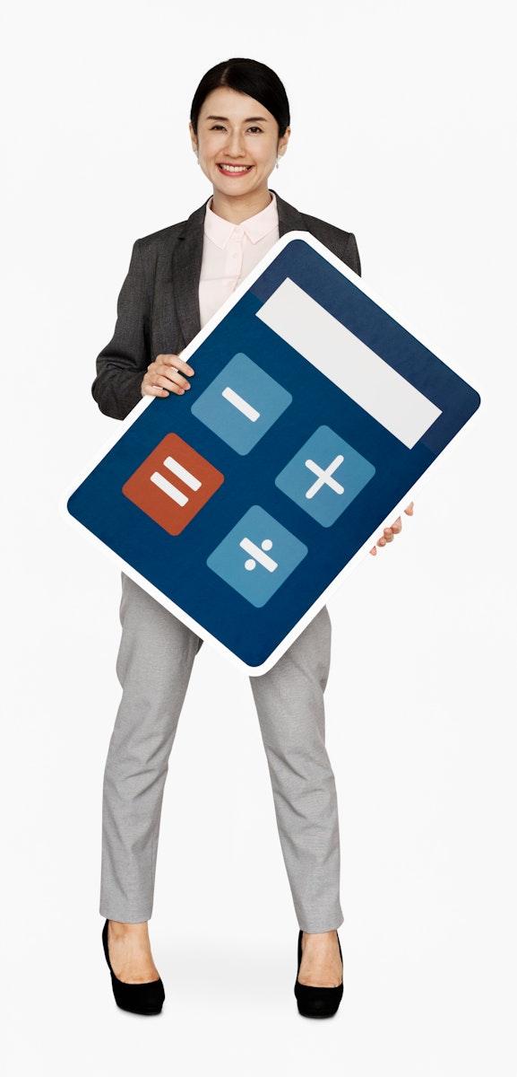 Japanese businesswoman holding a calculator