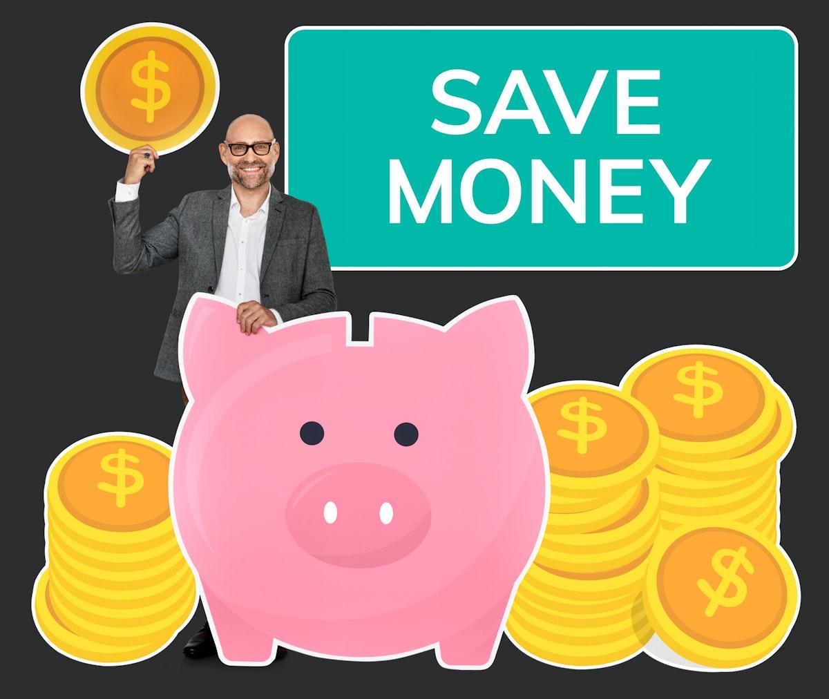 Businessman saving money in a piggy bank