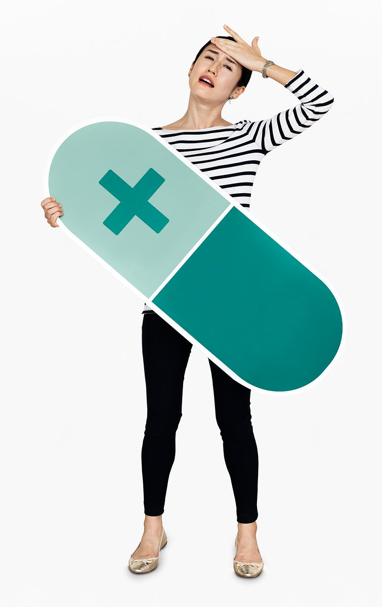 Japanese woman holding a pill icon