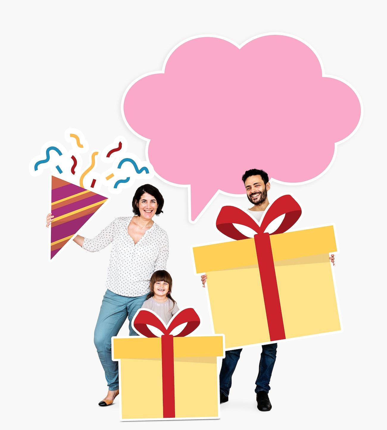 Happy Family Holding Gift Box Icons Royalty Free Illustration 490287