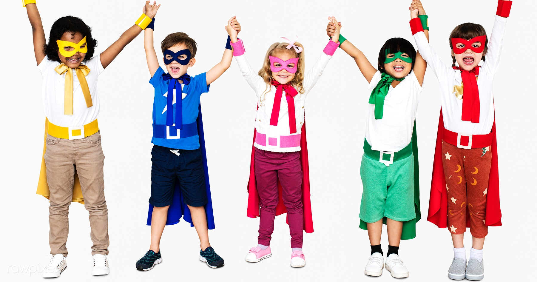 e8720afd63f37 Cheerful kids wearing superhero costumes and holding hands. Premium Royalty  Free PSD