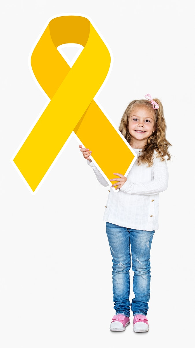 Young girl holding gold ribbon supporting childhood cancer awareness