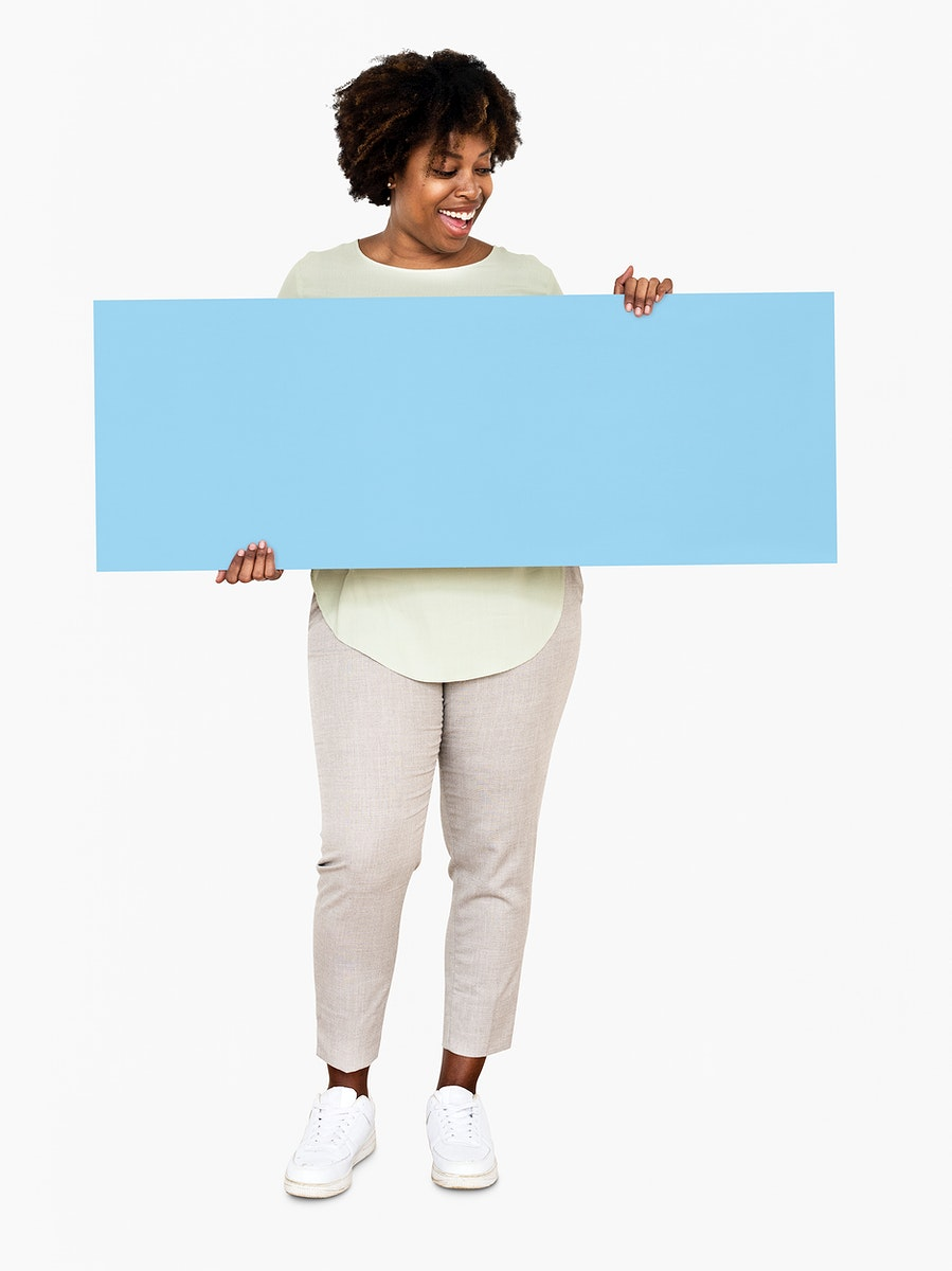 Cheerful woman showing a blank blue banner