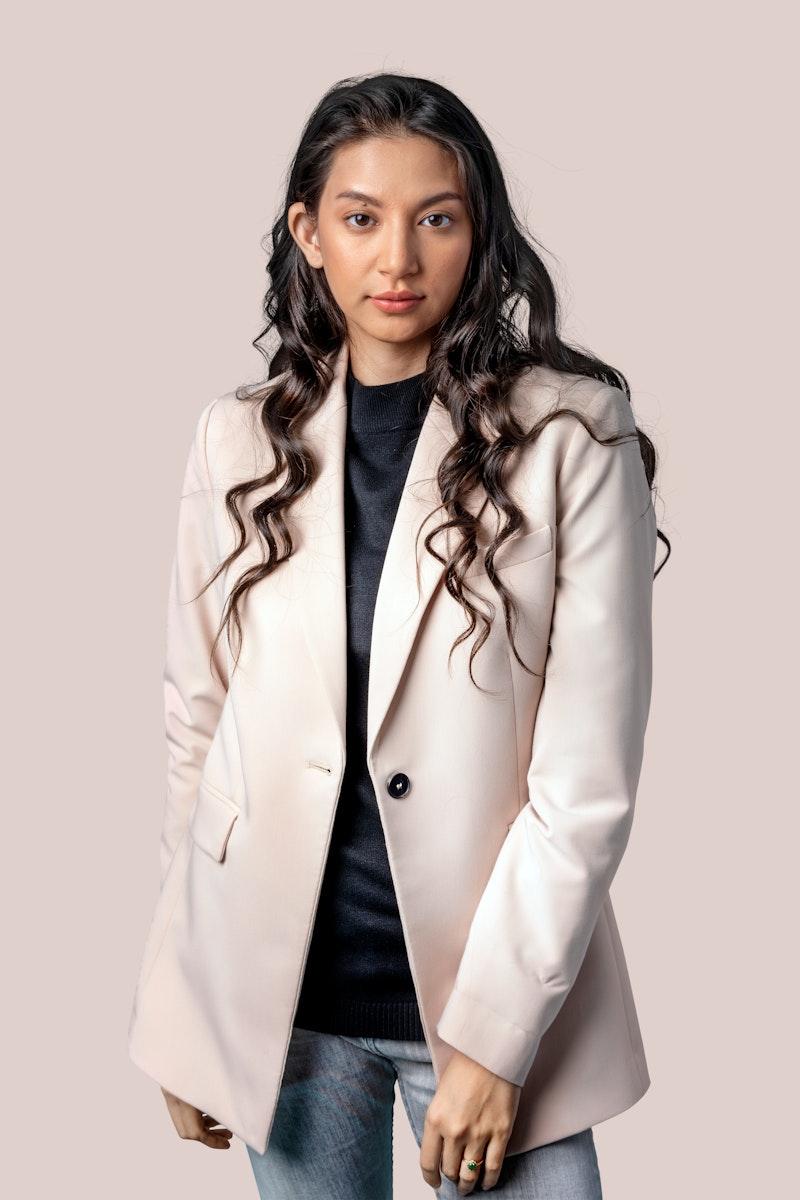 Asian businesswoman in a blazer mockup