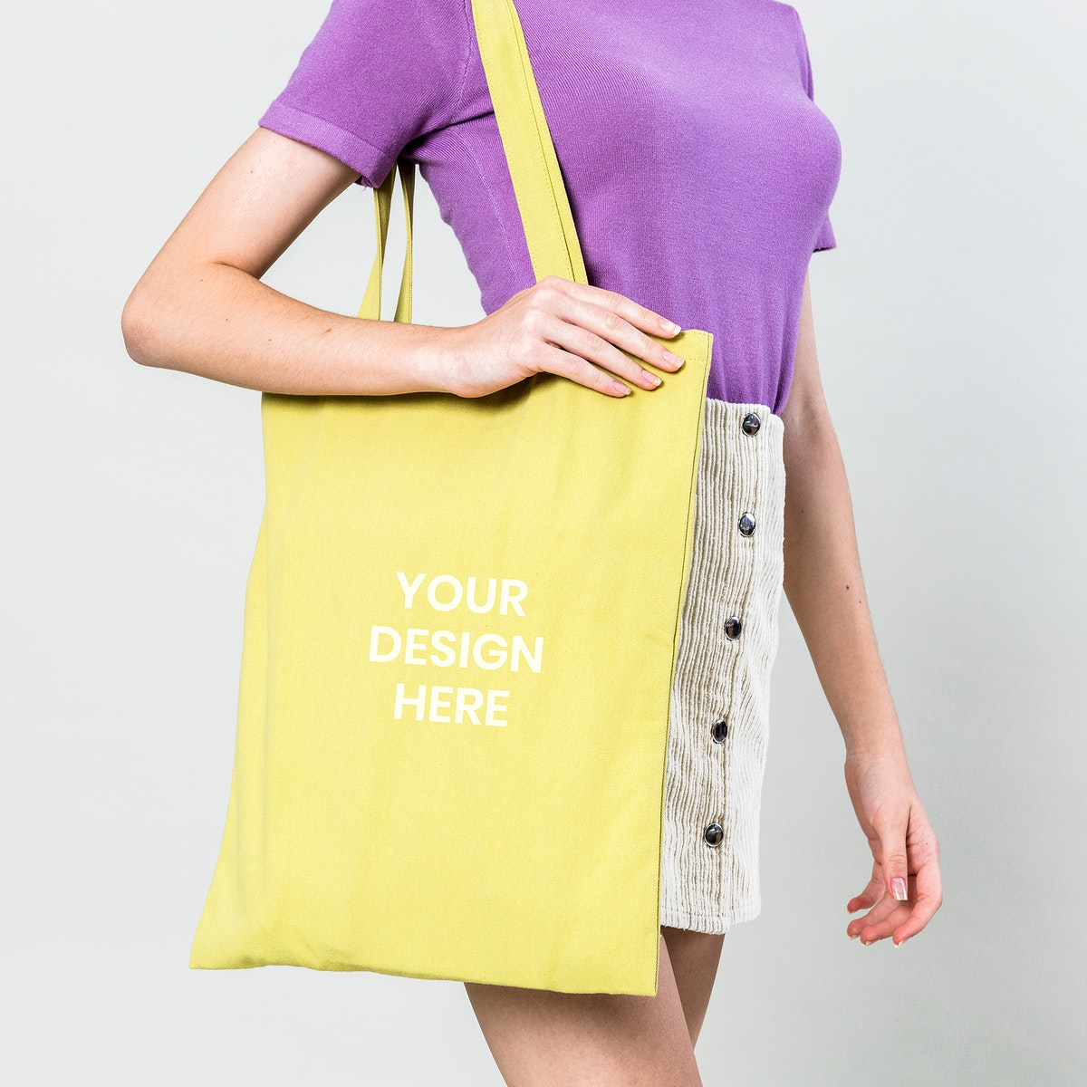 Woman with floral tote bag mockup