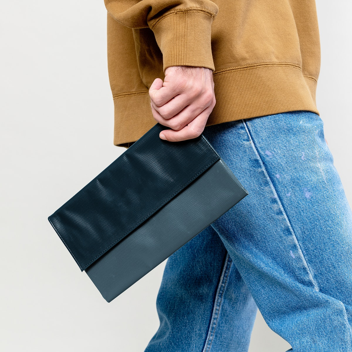 Woman with a gray purse mockup