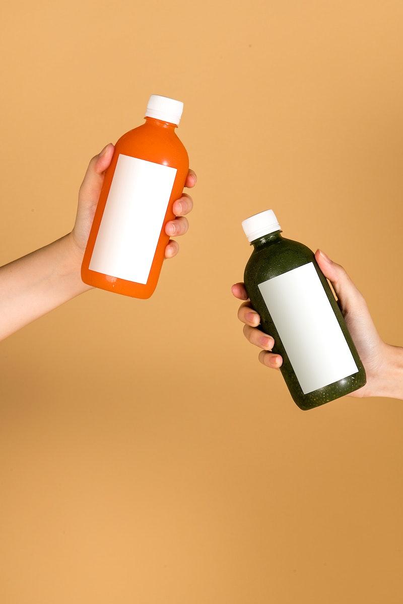 Healthy drink in bottles