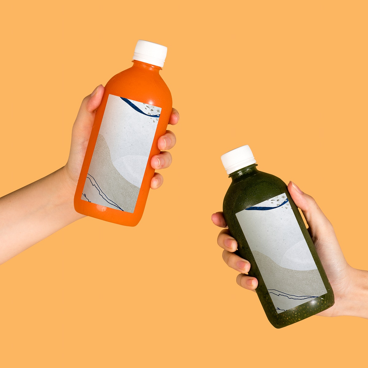 Healthy drink in bottles with label mockup