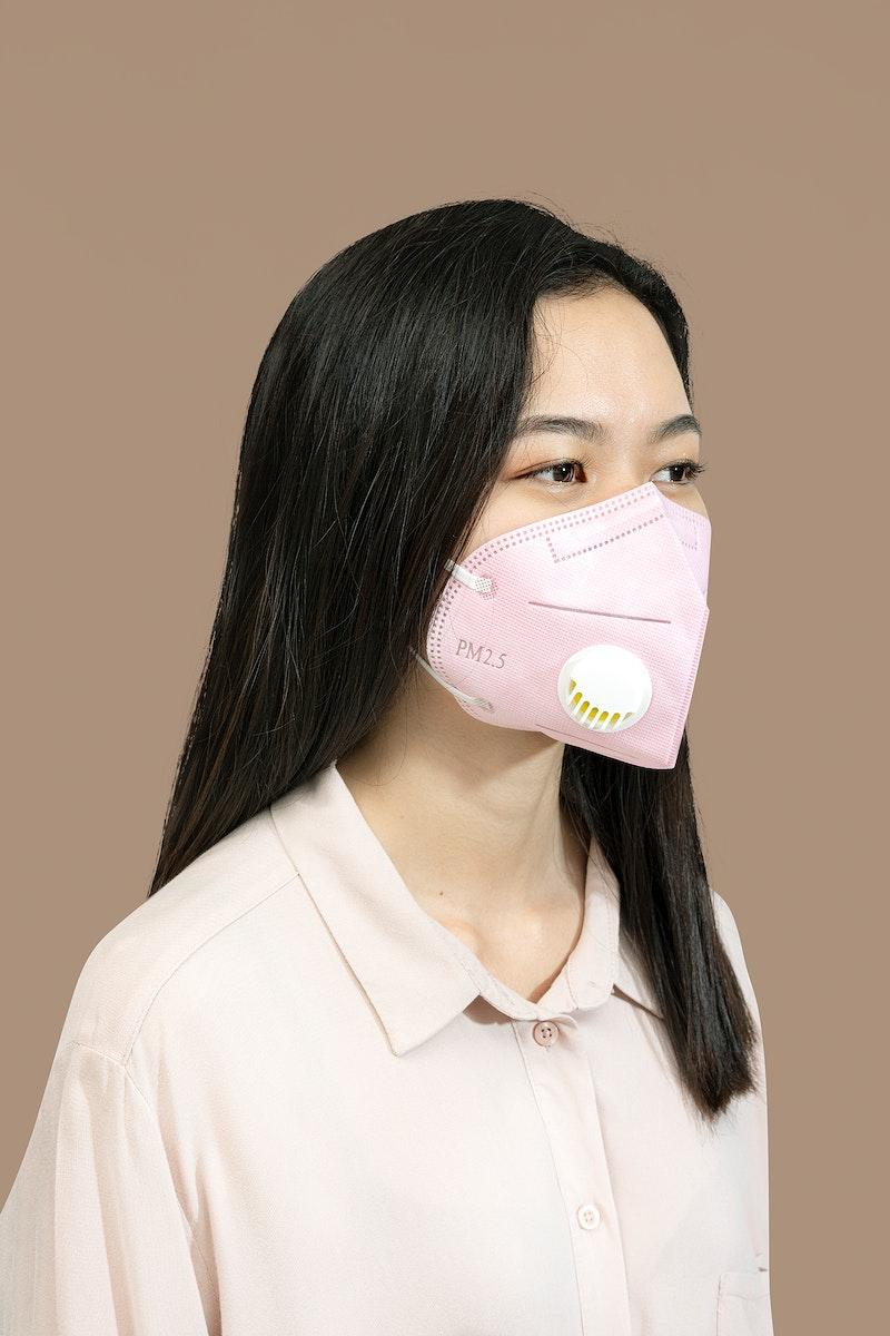 Chinese woman wearing a face mask mockup