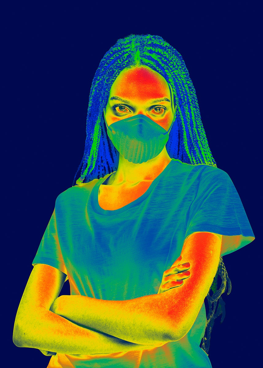 Black woman wearing a mask infrared thermography mockup