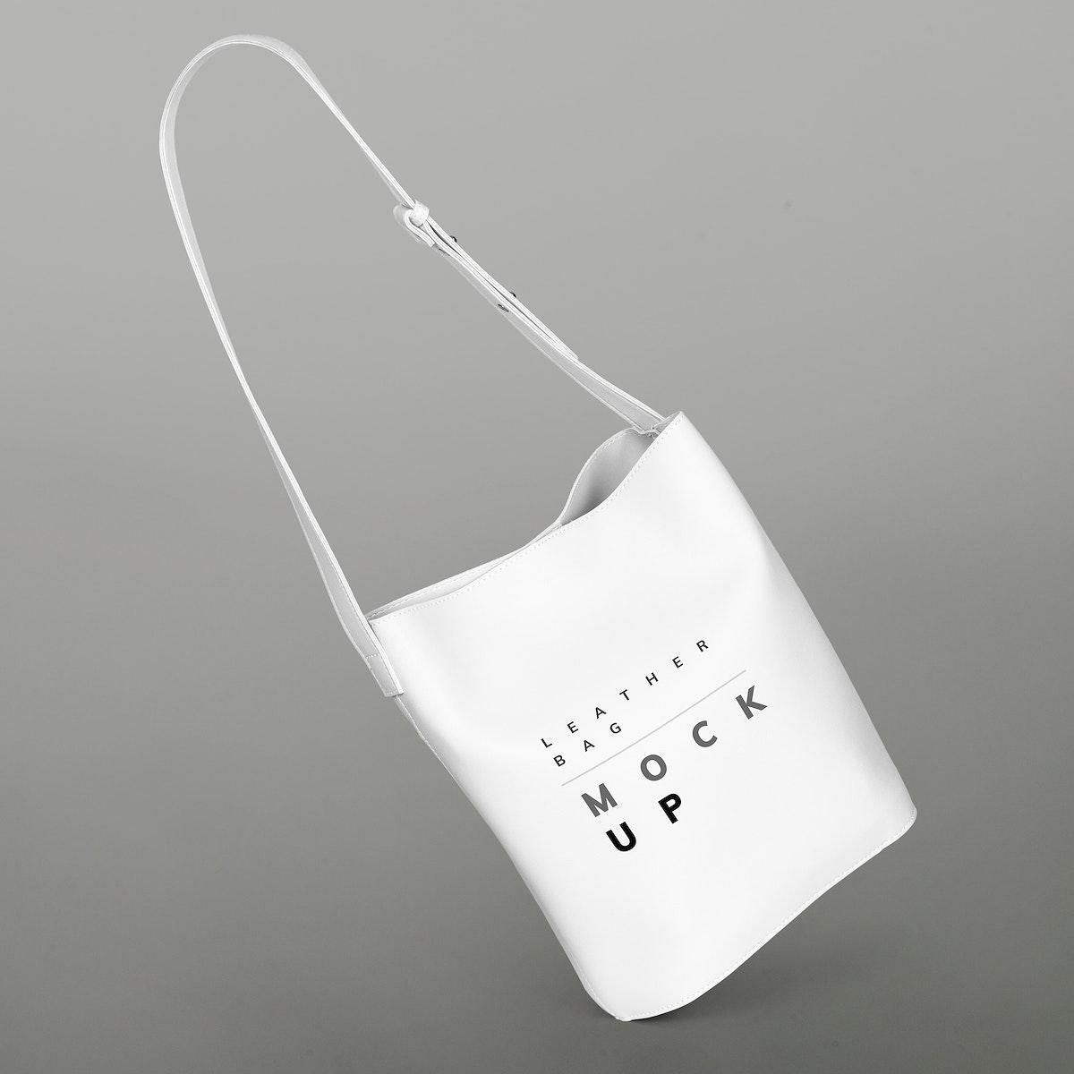 White shoulder bag mockup on a gray background