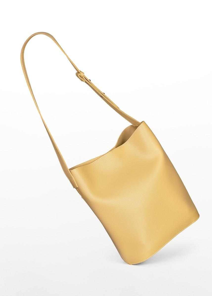 Beige leather shoulder bag mockup