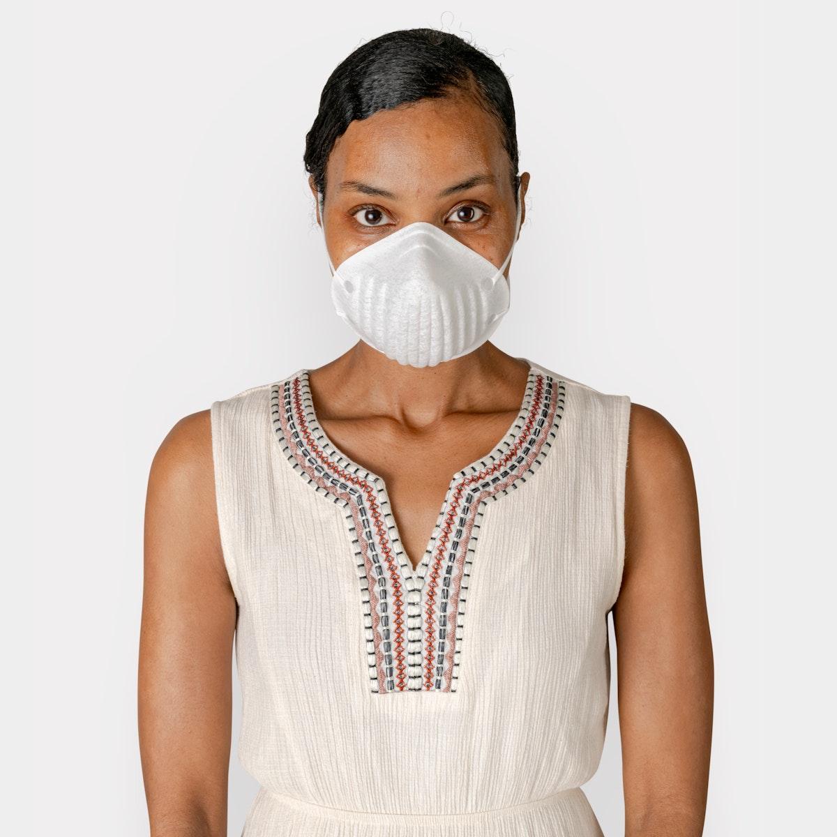 Black woman wearing a mask mockup