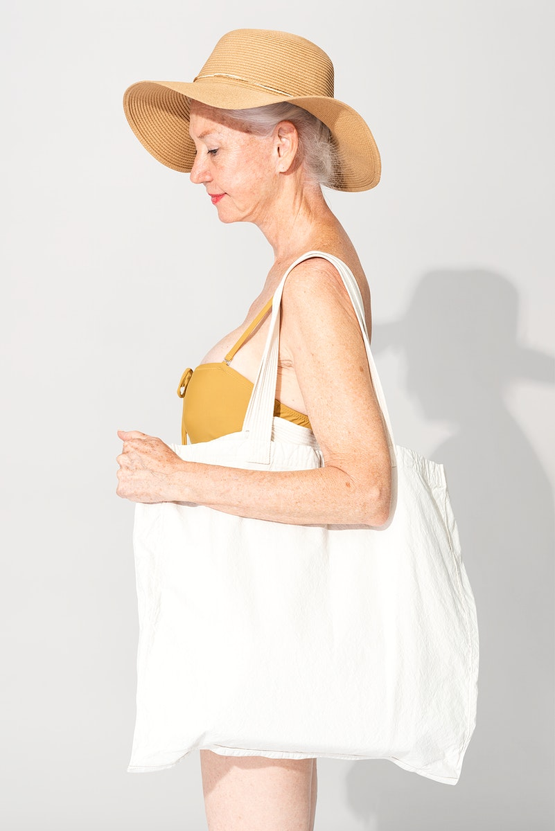 White tote bag basic apparel with design space
