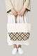 Beige canvas floral tote bag with design space