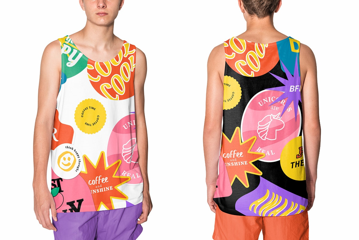 Teen's tank top mockup psd with cool colorful aesthetic design streetwear fashion